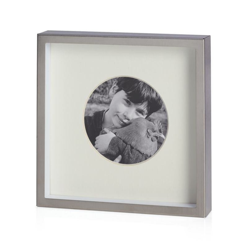 "Brushed Silver Frame 3"" Round"