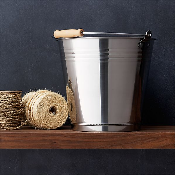 Stainless Steel Bucket with Wood Handle