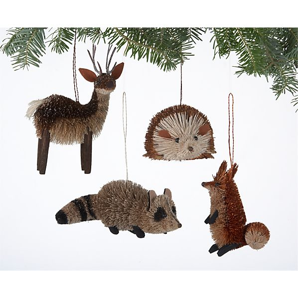 Set of 4 Buri Woodland Creature Ornaments