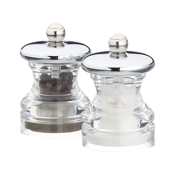 Set of 2 Button Salt and Pepper Mini Mills