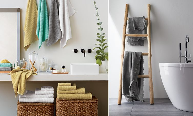 Left image: Colorful bath towels. Right image: Teak ladder with towel.