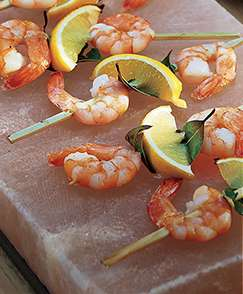 Shrimp on a Himalayan Salt Block