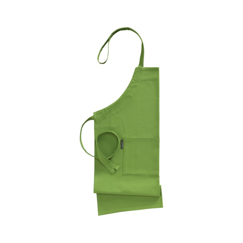 Our signature kitchen essentials spring up in fresh green. Cotton apron with adjustable ties has two generous front pockets. Each has a Crate and Barrel logo tag tucked tastefully along one seam.<br /><br /><NEWTAG/><ul><li>100% cotton</li><li>Piece-dyed</li><li>Machine wash</li><li>Made in India</li></ul>