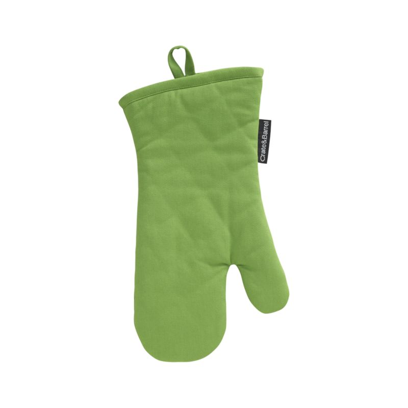 Our signature kitchen essentials spring up in fresh green. Green cotton mitt is finished with a hanging loop and natural color plush cotton terry lining. Each has a Crate and Barrel logo tag tucked tastefully along one seam.<br /><br /><NEWTAG/><ul><li>100% cotton</li><li>100% polyester fill</li><li>Piece-dyed</li><li>Machine wash</li><li>Made in India</li></ul>