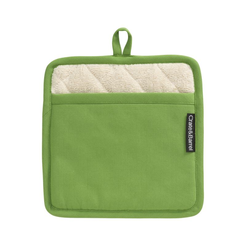 Our signature kitchen essentials spring up in fresh green. Green cotton potholder is finished with a hanging loop and natural color plush cotton terry lining. Each has a Crate and Barrel logo tag tucked tastefully along one seam.<br /><br /><NEWTAG/><ul><li>100% cotton body and terry lining</li><li>100% polyester fill</li><li>Piece-dyed</li><li>Machine wash</li><li>Made in India</li></ul>