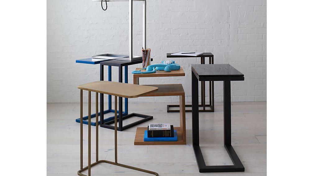 Parsons Glass Top/ Dark Steel Base C-Table