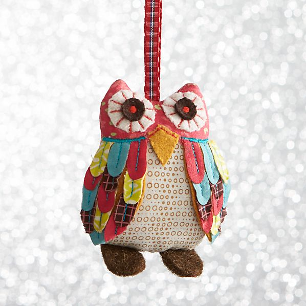 Calico Owl With Brown Feet Ornament