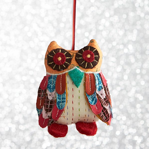 Calico Owl With Red Feet Ornament