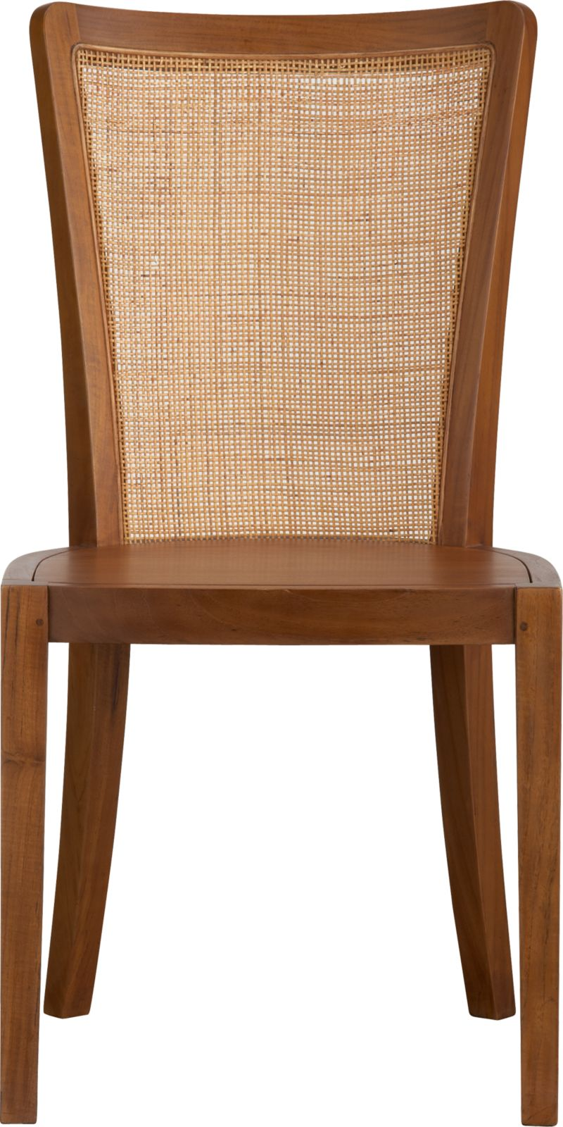 The graceful simplicity of Danish modern returns in the classic teak that became synonymous with its beauty. Fluid and rhythmic, spare and elegant, fine craftsmanship is in evidence at every turn. Sculptural tapered legs give rise to subtle curves that flow from the shapely seat to gently arced back with natural rattan weave. Crafted in engineered laminated teak and teak veneers, the warm glow of the wood is enhanced by a smooth satin lacquer that showcases natural variations in the knotty grain and tone.<br /><br /><NEWTAG/><ul><li>Engineered lamimated teak</li><li>Natural woven rattan back</li><li>Finished with durable polyurethane lacquer</li><li>Naturally occurring texture, knots, seasonal splitting and checking are inherent to wood species</li><li>Made in Indonesia</li></ul>