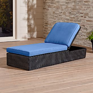 Outdoor patio lounge furniture crate and barrel for Blue mesh chaise lounge