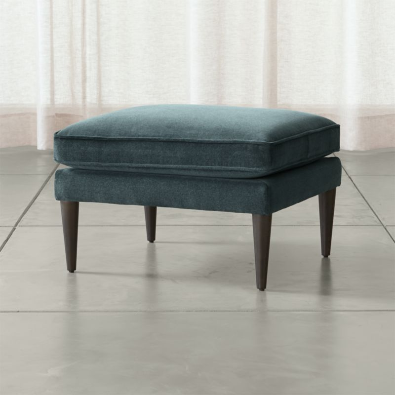 Callie ottoman flanders teal crate and barrel for Crate and barrel pouf