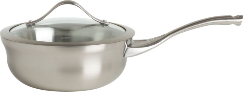 """For cooks with an eye for design. Durable, professional-quality pan shows off curves and a clean profile finished in a fine satin luster. Tri-ply construction features two layers of stainless steel encasing a full aluminum core for even, consistent heating. Double-riveted cast stainless stay-cool handle is ergonomically designed wtih a rounded end for comfort. Elegant flared rim allows easy pouring while adding extra stength to """"stress point"""" edge. See-through, domed glass lid is heat-tempered for strength with wide, protective stainless steel rim.<br /><br /><NEWTAG/><ul><li>Stainless steel</li><li>Brushed finish</li><li>Full aluminum core</li><li>Ergonomic, stay-cool handle is cast stainless steel</li><li>Double-riveted handle</li><li>Domed, tempered glass lid with stainless steel banded rim</li><li>Dishwasher- and oven-safe to 450 degrees</li></ul><br /><a href=/Gift-Registry/Registrant/Promo-Bonus-Gifts.aspx> Calphalon® and other Wedding Registry offers</a>"""