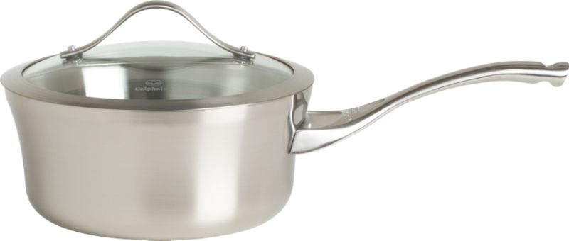 """For cooks with an eye for design. Durable, professional-quality pan shows off curves and a clean profile finished in a fine satin luster. Tri-ply construction feaures two layers of stainless steel encasing a full aluminum core for even, consistent heating. Double-riveted cast stainless stay-cool handle is ergonomically designed with a rounded end for comfort. Elegant flared rim allows easy pouring while adding extra strength to """"stress point"""" edge. See-through, domed glass lid is heat-tempered for strength with wide, protective stainless steel rim.<br /><br /><NEWTAG/><ul><li>Stainless steel</li><li>Brushed finish</li><li>Full aluminum core</li><li>Ergonomic, stay-cool handle is cast stainless steel</li><li>Double-riveted handle</li><li>Domed, tempered glass lid with stainless steel banded rim</li><li>Dishwasher- and oven-safe to 450 degrees</li><li>Made in China or USA</li></ul><br /><a href=/Gift-Registry/Registrant/Promo-Bonus-Gifts.aspx> Calphalon® and other Wedding Registry offers</a>"""
