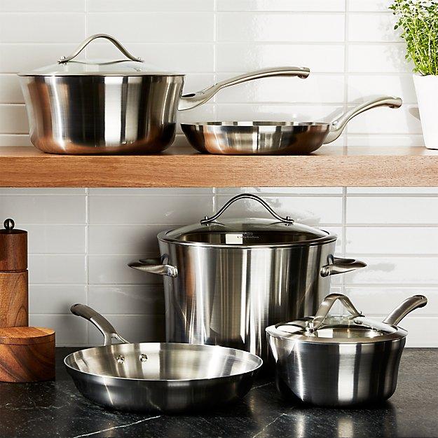 Calphalon Contemporary ™ Stainless 8-Piece Cookware Set with Double Bonus