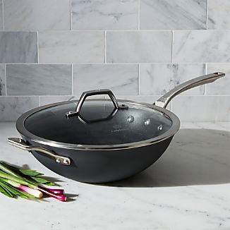 "Calphalon Signature Non-Stick 12"" Flat Bottom Wok with Lid"