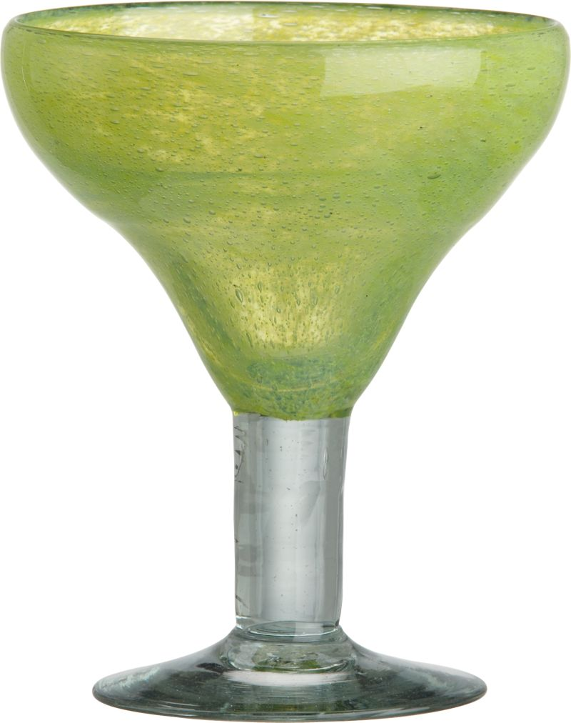 A squeeze of fresh lime. Chunky glassware in fresh citron green is handcrafted of recycled glass with a rustic look and vibrant depth of color—each piece with its own unique swirls and specks. Generous margarita glass sits on a thick pedestal in clear glass.<br /><br /><NEWTAG/><ul><li>Handmade recycled glass</li><li>Hand wash for best results</li><li>Made in Mexico</li></ul>