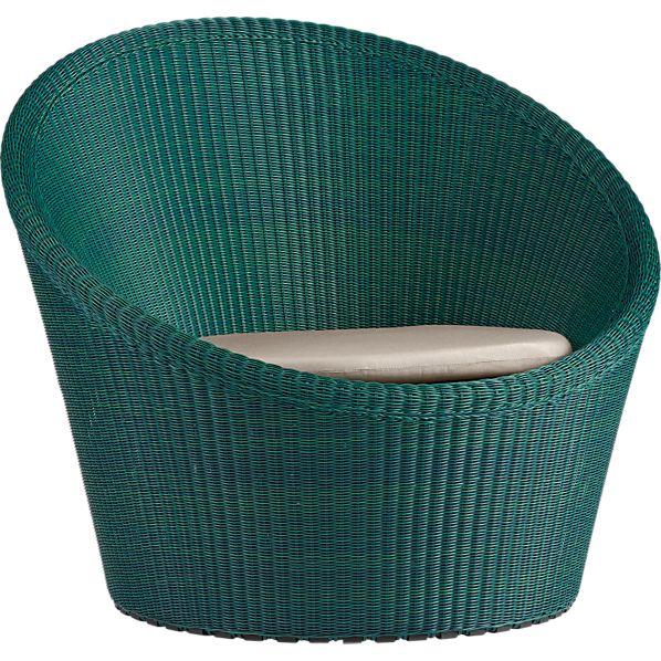 Calypso Bottle Green Swivel Lounge Chair with Sunbrella ® Stone Cushion