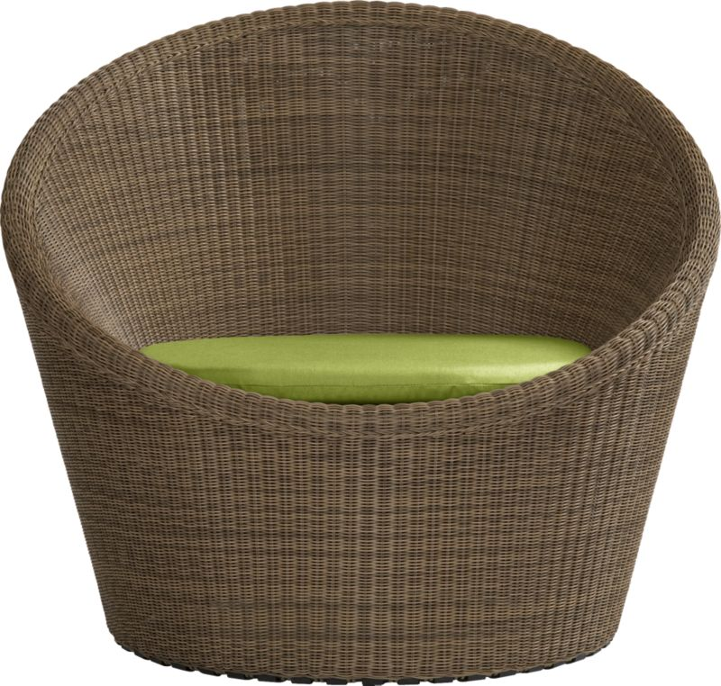 Hand-woven all-weather resin wicker rolls out the ultimate lounge. Cabana-style barrel chair swivels effortlessly thanks to inline wheels cleverly concealed underneath the base. Refined, tight-weave wicker construction over sturdy steel frame is finished in tonal caramel and honey and is UV-resistant and colorfast. Cushion is fade- and mildew-resistant Sunbrella® acrylic in kiwi.<br /><ul><li>Hand-woven resin wicker</li><li>Powdercoated galvanized steel frame</li><li>Colorfast and UV-resistant bronze powdercoat finish</li><li>Inline wheels</li><li>Cushion is fade- and mildew-resistant Sunbrella acrylic</li><li>100% polyfoam fill</li><li>Spot clean</li></ul><NEWTAG/>