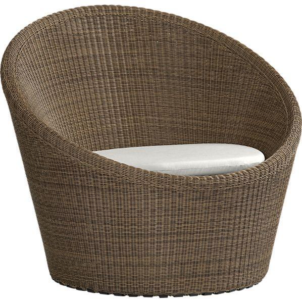 Calypso Mocha Swivel Lounge Chair with Sunbrella ® White Sand Cushion