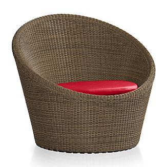 Calypso Mocha Swivel Lounge Chair with Sunbrella ® Ribbon Red Chair Cushion