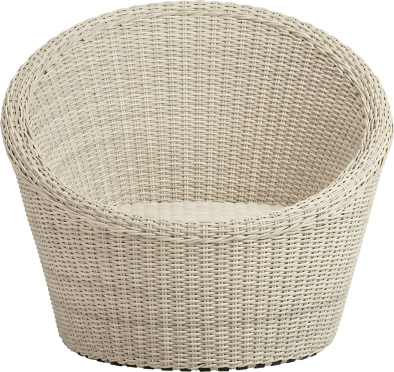 Hand-woven all-weather resin wicker rolls out the ultimate lounge. Cabana-style barrel chair swivels effortlessly thanks to inline wheels cleverly concealed underneath the base. Refined, tight-weave wicker construction over sturdy steel frame is finished in tonal whites and is UV-resistant and colorfast.<br /><br /><NEWTAG/><ul><li>Hand-woven resin wicker</li><li>Galvanized steel frame with powdercoat finish</li><li>Colorfast and UV-resistant bronze powdercoat finish</li><li>Inline wheels</li><li>Made in Indonesia</li></ul>