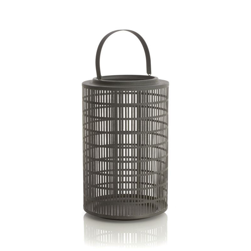 "Slate grey iron lattice enhances a candlelit mood in a favorite room or outdoors on the deck or hung up high by its iron handle. Great in a group or mixed with the other Cambria lanterns.<br /><br /><NEWTAG/><ul><li>Iron</li><li>Use indoors or outdoors</li><li>Accommodates up to 4""-dia. pillar candle, sold separately</li><li>Dust with soft dry clot</li><li>Made in India</li></ul>"