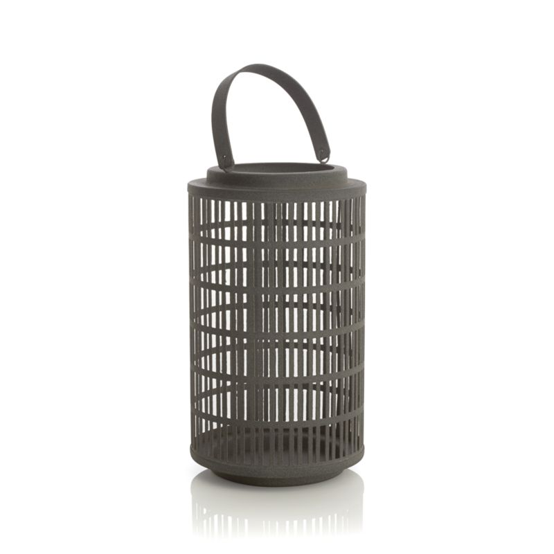"Slate grey iron lattice enhances a candlelit mood in a favorite room or outdoors on the deck or hung up high by its iron handle. Great in a group or mixed with the other Cambria lanterns.<br /><br /><NEWTAG/><ul><li>Iron</li><li>Use indoors or outdoors</li><li>Accommodates up to 3""-dia. pillar candle, sold separately</li><li>Dust with soft dry clot</li><li>Made in India</li></ul>"