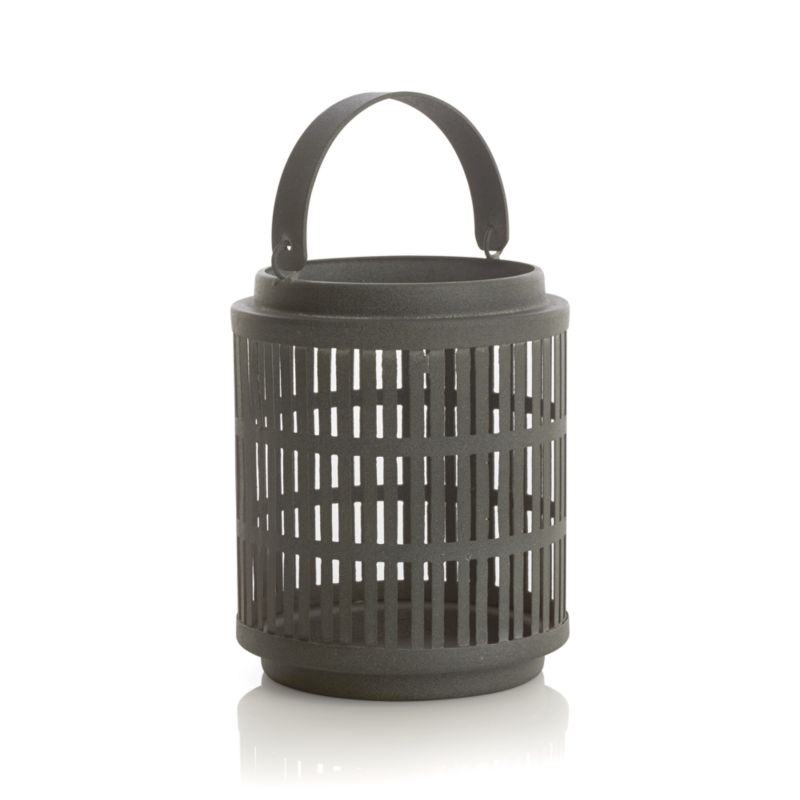 Slate grey iron lattice enhances a candlelit mood in a favorite room or outdoors on the deck or hung up high by its iron handle. Great in a group or mixed with the other Cambria lanterns.<br /><br /><NEWTAG/><ul><li>Iron</li><li>Use indoors or outdoors</li><li>Accommodates a standard votive or tealight candle, sold separately</li><li>Dust with soft dry clot</li><li>Made in India</li></ul>