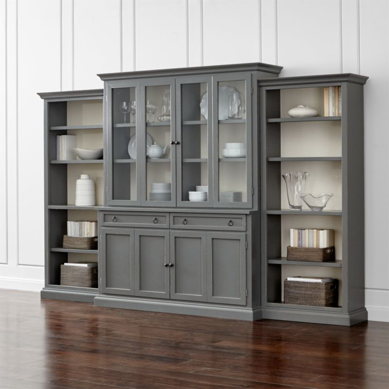 Cameo 4 Piece Grey Glass Door Wall Unit W Open Bookcases