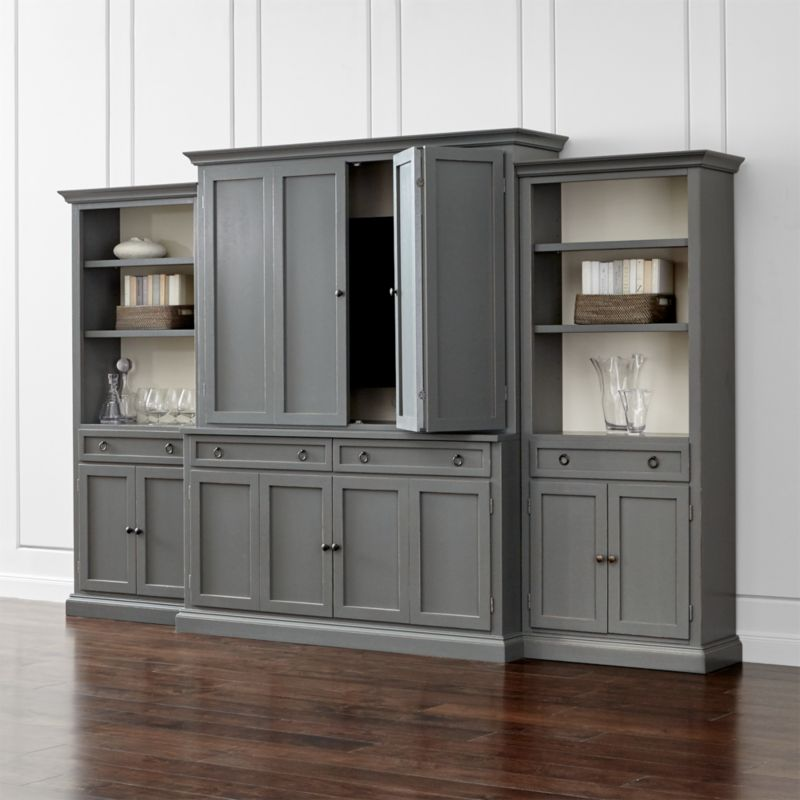 Cameo 4 Piece Grey Storage Bookcase Entertainment Center