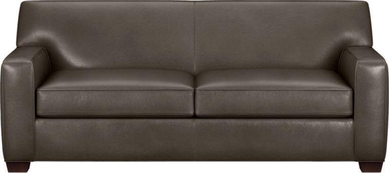 The classic modern leather sofa we've all been looking for in the richest, most supple leather there is—clean-lined but not too edgy, graceful but never fussy. Top-grain Italian hide is aniline-dyed and hand-stained to a handsome tonal effect that only gets more lustrous with time. Natural pebble grain is beautifully showcased by impeccable tailoring with self-welt detail. Perfectly scaled to fit smaller spaces, wide track arms frame plush, generous seat cushions that sink deep into a comfortably angled tight back. Hardwood legs are stained black walnut.<br /><br />After you place your order, we will send a leather swatch via next day air for your final approval. We will contact you to verify both your receipt and approval of the leather swatch before finalizing your order.<br /><br /><NEWTAG/><ul><li>Eco-friendly construction</li><li>Certified sustainable kiln-dried hardwood frame</li><li>Seat cushions are soy-based polyfoam wrapped in regenerated synthetic fiber and encased in downproof ticking</li><li>Tight back is filled with soy-based polyfoam and regenerated synthetic fibers</li><li>Sinuous wire spring suspension</li><li>Upholstered in aniline-dyed leather with self-welt detailing</li><li>Benchmade</li><li>See additional frame options below</li><li>Made in North Carolina, USA</li></ul>