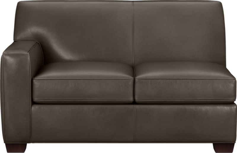 The classic modern leather loveseat we've all been looking for in the richest, most supple leather there is—clean-lined but not too edgy, graceful but never fussy. Top-grain Italian hide is aniline-dyed and hand-stained to a handsome tonal effect that only gets more lustrous with time. Natural pebble grain is beautifully showcased by impeccable tailoring with self-welt detail. Made to mix modular, single wide track arms frame plush, generous seat cushions that sink deep into a comfortably angled tight back. Hardwood legs are stained black walnut.<br /><br />After you place your order, we will send a leather swatch via next day air for your final approval. We will contact you to verify both your receipt and approval of the leather swatch before finalizing your order.<br /><br /><NEWTAG/><ul><li>Eco-friendly construction</li><li>Certified sustainable kiln-dried hardwood frame</li><li>Seat cushions are soy-based polyfoam wrapped in regenerated synthetic fiber and encased in downproof ticking</li><li>Tight back is filled with soy-based polyfoam and regenerated synthetic fibers</li><li>Sinuous wire spring suspension</li><li>Upholstered in aniline-dyed leather with self-welt detailing</li><li>Benchmade</li><li>See additional frame options below</li><li>Made in North Carolina, USA of domestic and imported materials</li></ul>