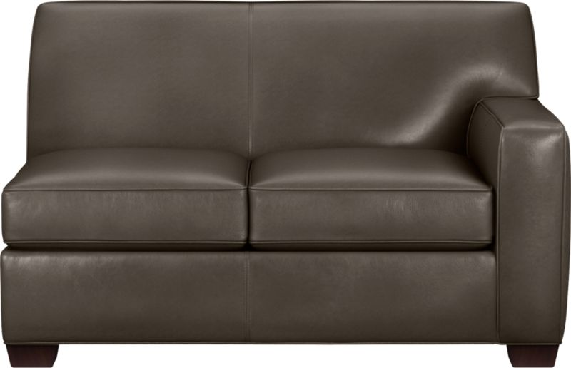 The classic modern leather loveseat we've all been looking for in the richest, most supple leather there is—clean-lined but not too edgy, graceful but never fussy. Top-grain Italian hide is aniline-dyed and hand-stained to a handsome tonal effect that only gets more lustrous with time. Natural pebble grain is beautifully showcased by impeccable tailoring with self-welt detail. Made to mix modular, single wide track arms frame plush, generous seat cushions that sink deep into a comfortably angled tight back. Hardwood legs are stained black walnut.<br /><br />After you place your order, we will send a leather swatch via next day air for your final approval. We will contact you to verify both your receipt and approval of the leather swatch before finalizing your order.<br /><br /><NEWTAG/><ul><li>Eco-friendly construction</li><li>Certified sustainable kiln-dried hardwood frame</li><li>Seat cushions are soy-based polyfoam wrapped in regenerated synthetic fiber and encased in downproof ticking</li><li>Tight back is filled with soy-based polyfoam and regenerated synthetic fibers</li><li>Sinuous wire spring suspension</li><li>Upholstered in aniline-dyed leather with self-welt detailing</li><li>Benchmade</li><li>See additional frame options below</li></ul>