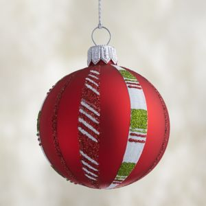Red Candy Stripe Ball Ornament