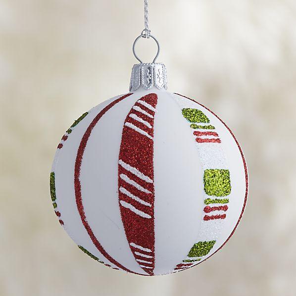 White Candy Stripe Ball Ornament