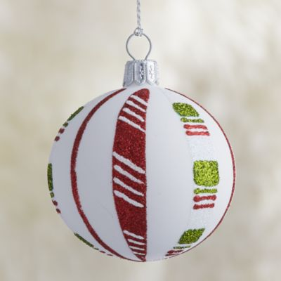 White Candy Stripe Ball Ornament