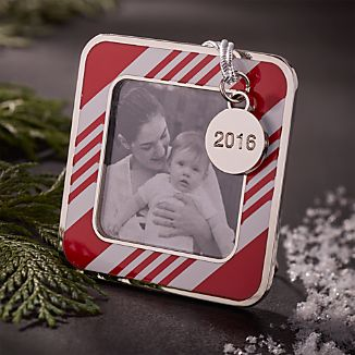 Candy Stripe Photo Frame Ornament with 2016 Charm