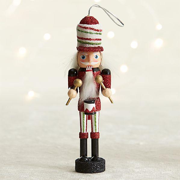 Red Drummer Candy Stripe Nutcracker Ornament