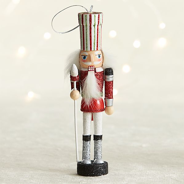 Red Guard Candy Stripe Nutcracker Ornament