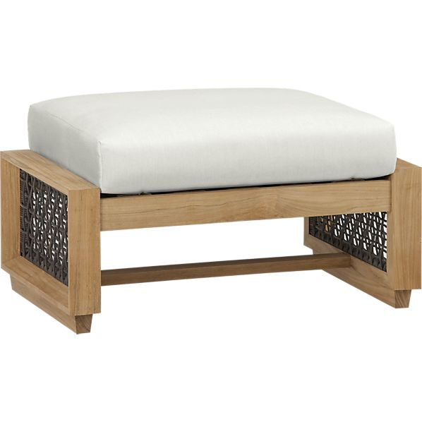 Canyon Ottoman with Sunbrella ® White Sand Cushion