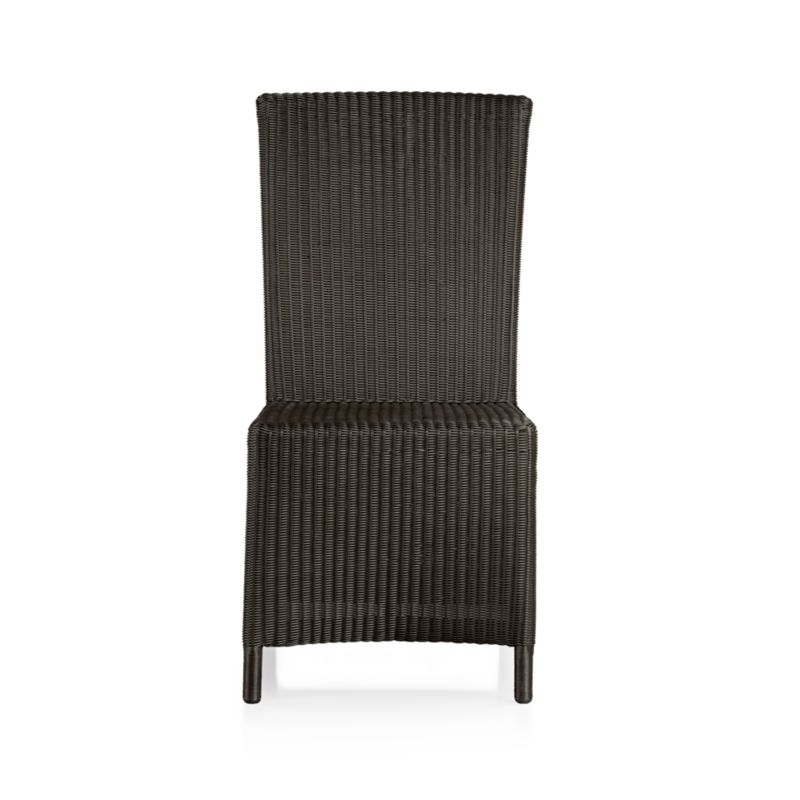 "Introducing a new dining dress code, our Captiva side chair ""slipcovers"" a powdercoated aluminum frame in all-weather wicker in warm java brown. Designed for durability, this clean-lined, comfortable side chair with generous seat and high, angled back can move from the dining room to the patio and back again. <NEWTAG/><ul><li>Indoor/outdoor resin wicker</li><li>Aluminum frame with powdercoat finish</li><li>Synthetic webbing</li><li>Made in Indonesia</li></ul>"