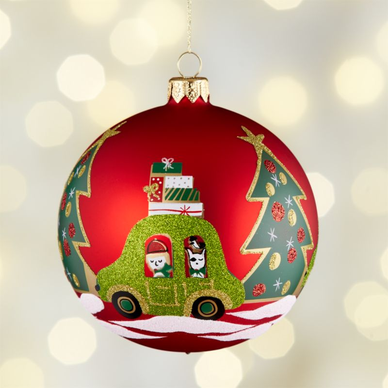 Car with Presents Red Ball Ornament
