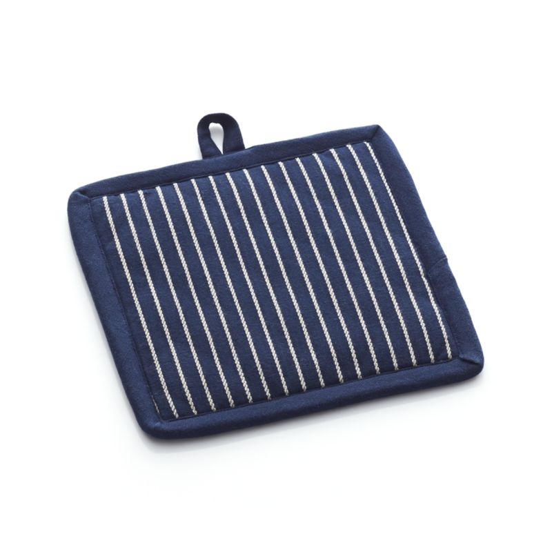 Heavy-duty cotton potholder in deep navy with white vertical pinstriping is a classic kitchen essential. Sanforized potholder with terry lining is outfitted with a handy hanging loop. May be used as a trivet.<br /><br /><NEWTAG/><ul><li>100% cotton body</li><li>Sanforized finish</li><li>100% polyester fill</li><li>100% cotton terry lining</li><li>Machine wash</li><li>Made in India</li></ul>