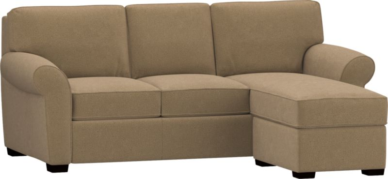 A storage ottoman connects via an extended cushion to create a relaxing chaise lounge configuration on the left, right, even in the center.<br /><br />After you place your order, we will send a fabric swatch via next day air for your final approval. We will contact you to verify both your receipt and approval of the fabric swatch before finalizing your order.<br /><br /><NEWTAG/><ul><li>Eco-friendly construction</li><li>Kiln-dried wood frame</li><li>Seat cushions are soy-based polyfoam wrapped in downproof ticking</li><li>Back cushions are polyfiber wrapped in downproof ticking</li><li>Hardwood legs have a walnut finish</li><li>Self-welt detail</li><li>Benchmade</li><li>See additional frame options below</li></ul>