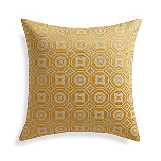 "Caro Yellow 20"" Pillow with Feather-Down Insert"