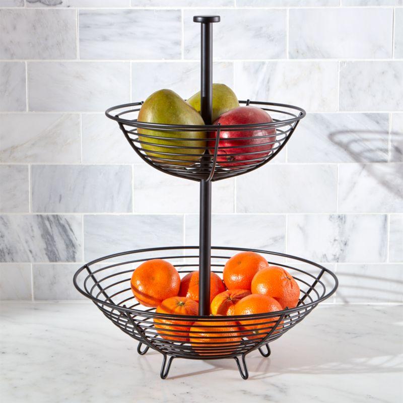 Carter 2 Tier Matte Black Fruit Basket Crate And Barrel
