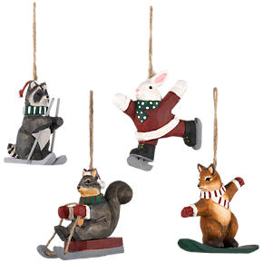 Carved Woodland Sports Animal Ornaments Set of Four