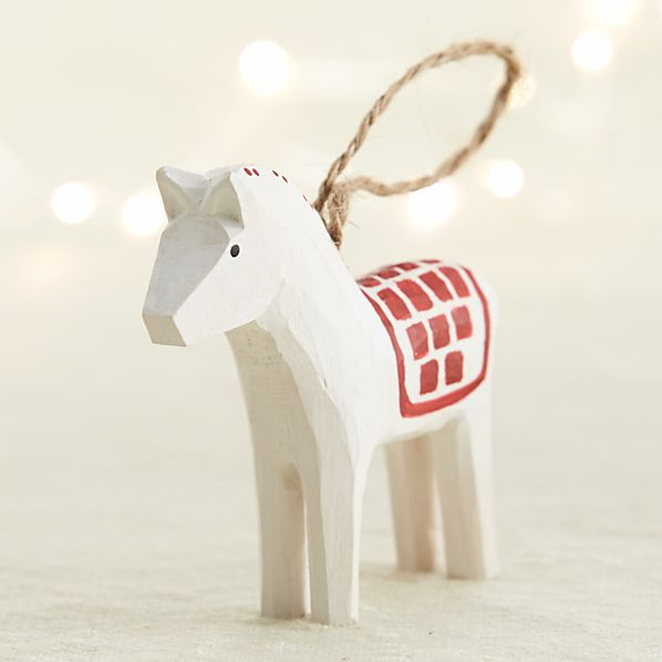 Carved Wood Horse Ornament