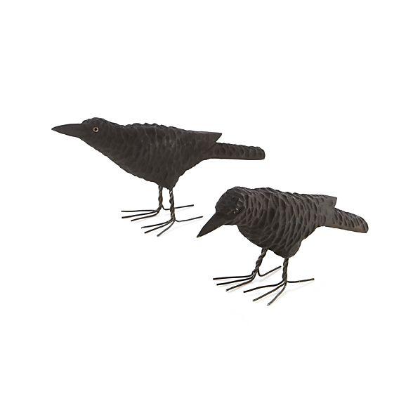 Carved Wood Ravens
