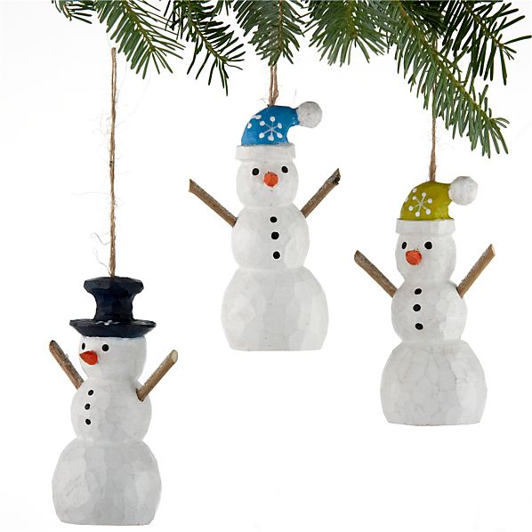 Set of 3 Carved Wood Snowman Ornaments